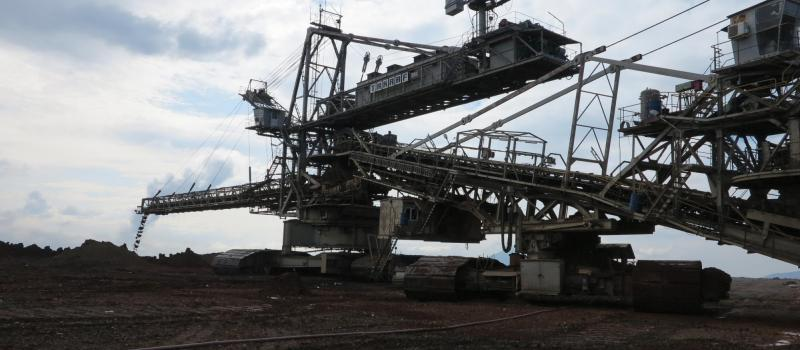 A massive lignite excavator in the Southern Field lignite mine in Ptolemaida, Greece